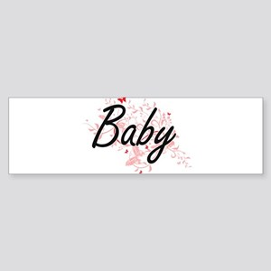 Baby Artistic Design with Butterfli Bumper Sticker