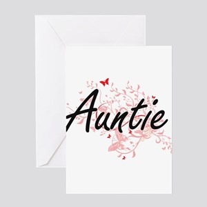 Auntie Artistic Design with Butterf Greeting Cards