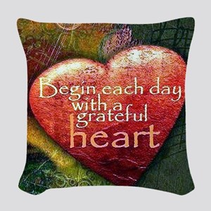 Begin Each Day Woven Throw Pillow