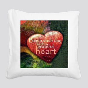 Begin Each Day Square Canvas Pillow