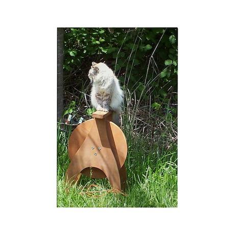 spinning wheel & cat Rectangle Magnet (100 pack)