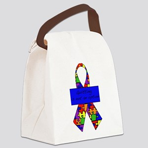 ribbon_blue3 Canvas Lunch Bag