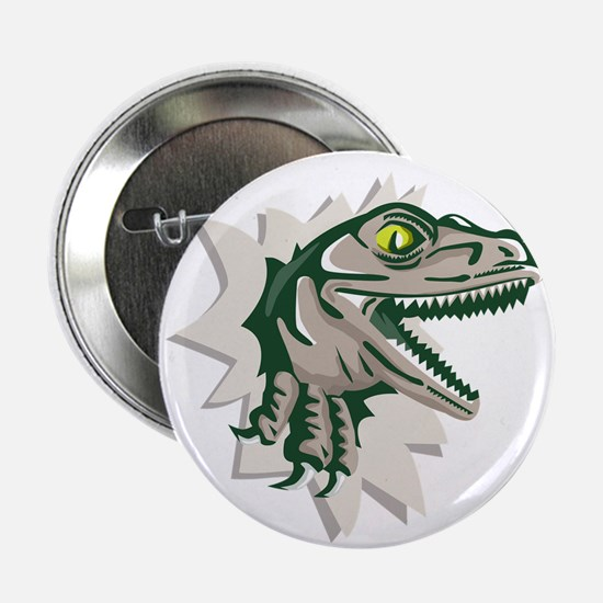 """Raptor Head Breaking Out Wall Retro 2.25"""" Button ("""
