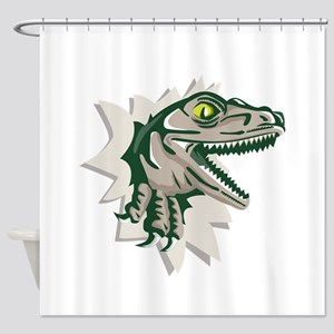 Raptor Head Breaking Out Wall Retro Shower Curtain