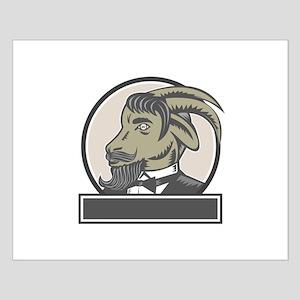 Goat Beard Head Circle Woodcut Posters