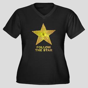 follow the star Women's Plus Size V-Neck Dark T-Sh