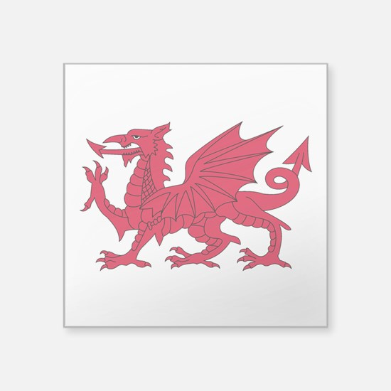 "Welsh Dragon Square Sticker 3"" x 3"""