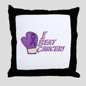 I Beat Cancer Throw Pillow