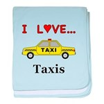 I Love Taxis baby blanket
