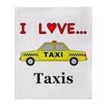 I Love Taxis Throw Blanket
