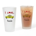 I Love Taxis Drinking Glass