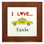 I Love Taxis Framed Tile