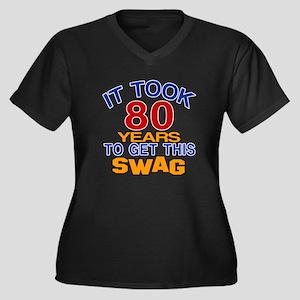 It Took 80 Y Women's Plus Size V-Neck Dark T-Shirt