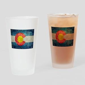 Colorado State flag retro style vin Drinking Glass