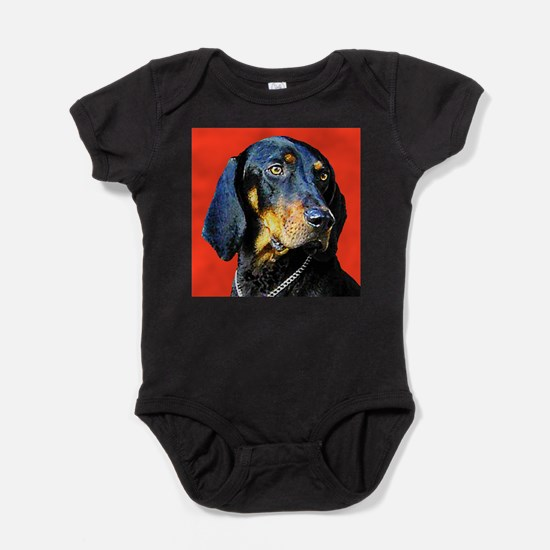 Cute Black and tan coonhound Baby Bodysuit