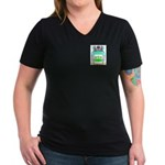 Spirett Women's V-Neck Dark T-Shirt