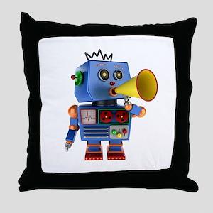 Blue toy robot with bullhorn Throw Pillow