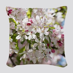 Spring Apple Tree Blossoms Woven Throw Pillow