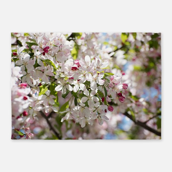 Spring Apple Tree Blossoms 5'x7'Area Rug