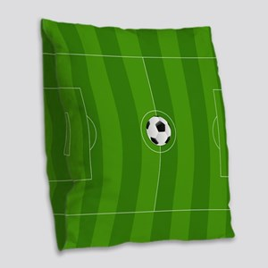 Football Field Burlap Throw Pillow