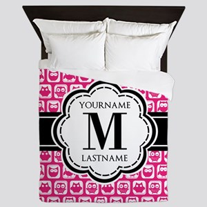 Pink Cute Owl Personalized Queen Duvet