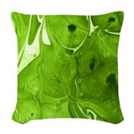Green Marble Woven Throw Pillow
