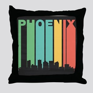 Vintage Phoenix Cityscape Throw Pillow