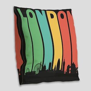 Vintage London Cityscape Burlap Throw Pillow