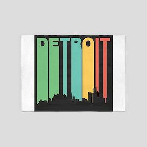 Vintage Detroit Cityscape 5'x7'Area Rug