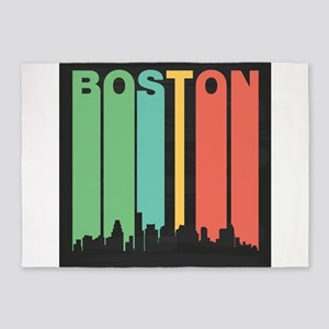 Vintage Boston Cityscape 5'x7'Area Rug