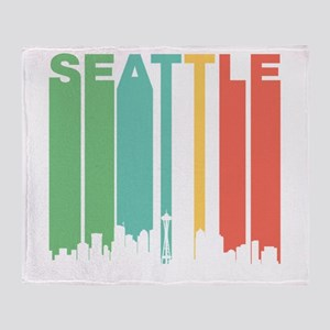 Vintage Seattle Cityscape Throw Blanket
