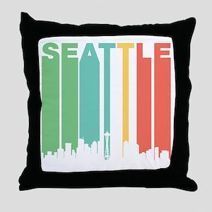 Vintage Seattle Cityscape Throw Pillow
