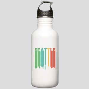Vintage Seattle Cityscape Water Bottle