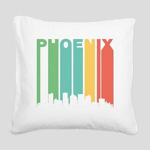 Vintage Phoenix Cityscape Square Canvas Pillow