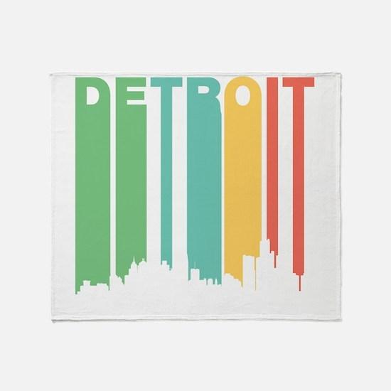 Vintage Detroit Cityscape Throw Blanket