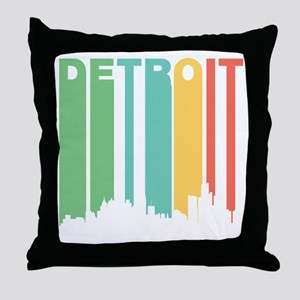 Vintage Detroit Cityscape Throw Pillow