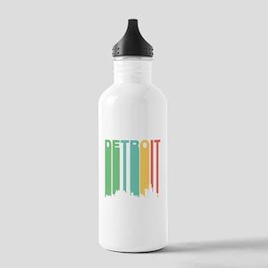 Vintage Detroit Cityscape Water Bottle