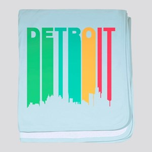 Vintage Detroit Cityscape baby blanket