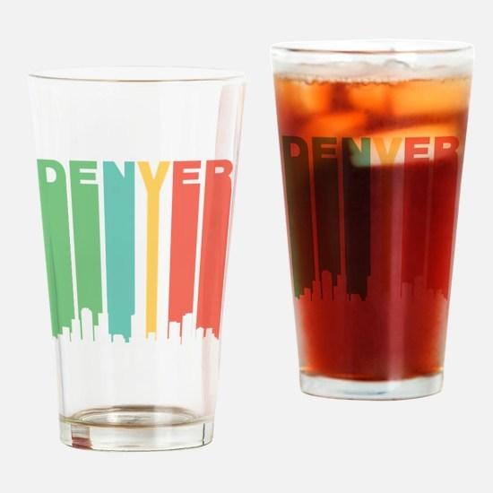 Vintage Denver Cityscape Drinking Glass
