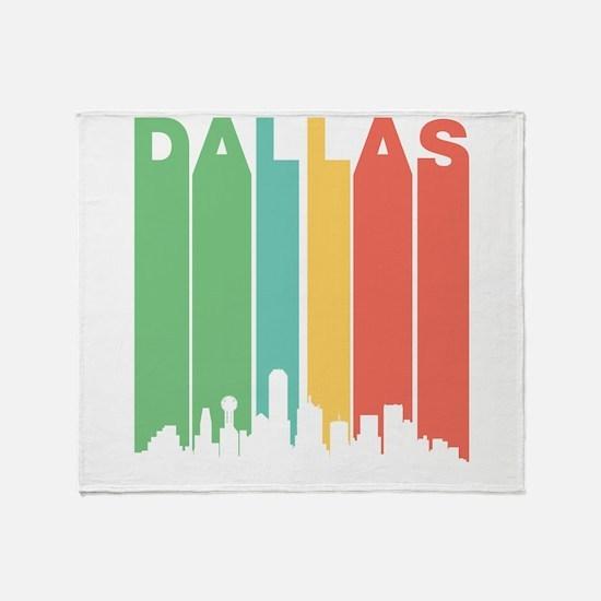 Vintage Dallas Cityscape Throw Blanket