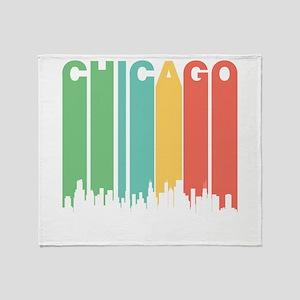 Vintage Chicago Cityscape Throw Blanket