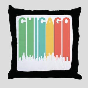 Vintage Chicago Cityscape Throw Pillow
