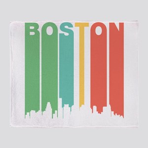Vintage Boston Cityscape Throw Blanket