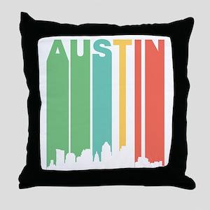 Vintage Austin Cityscape Throw Pillow