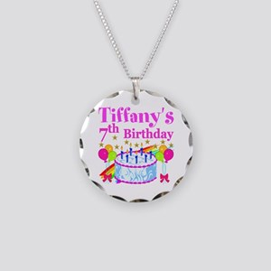 HAPPY 7TH Necklace Circle Charm