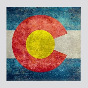 (B) Colorado State Flag Tile Coaster