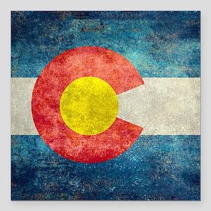 """(B) Colorado State Flag Square Car Magnet 3"""" x 3"""""""