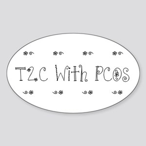 T2C With PCOS Oval Sticker