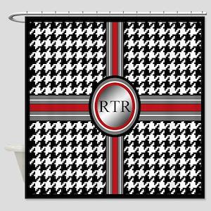 Monogram Houndstooth Shower Curtain