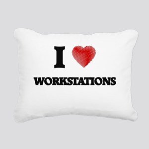 I love Workstations Rectangular Canvas Pillow